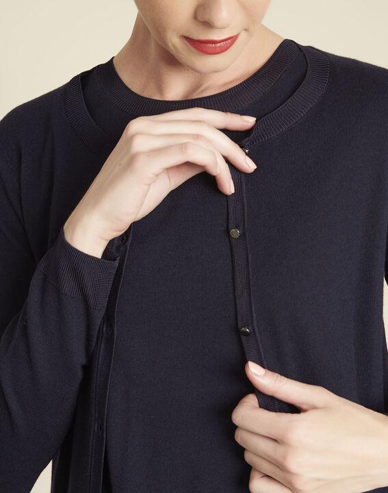 Bambou fine-knit navy cardigan (3) - 1-2-3