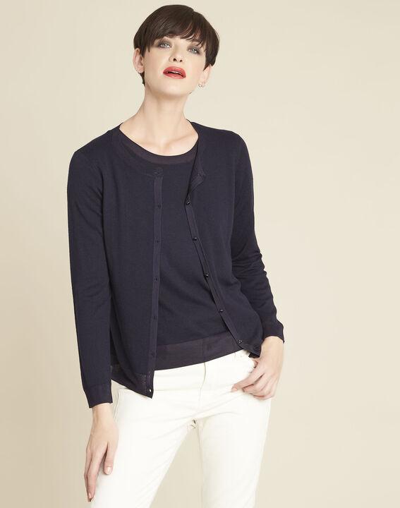 Bambou fine-knit navy cardigan PhotoZ | 1-2-3