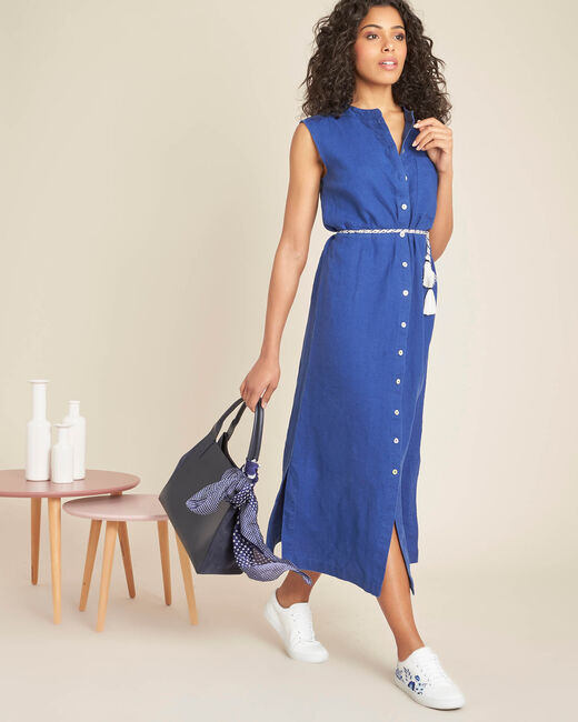 Papillon log blue linen shirt-dress (1) - 1-2-3