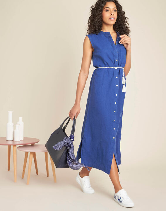 Papillon log blue linen shirt-dress (2) - 1-2-3
