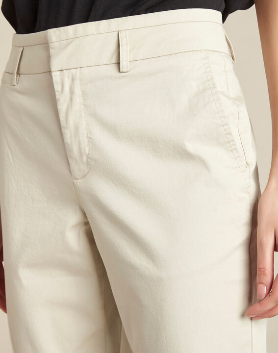 Jamy ecru cotton cropped trousers with lacing PhotoZ | 1-2-3