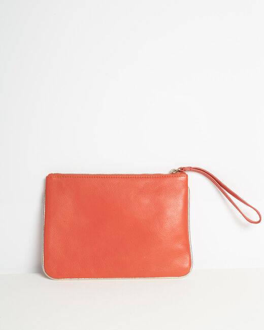 Droopy red clutch with leather straps (2) - 1-2-3