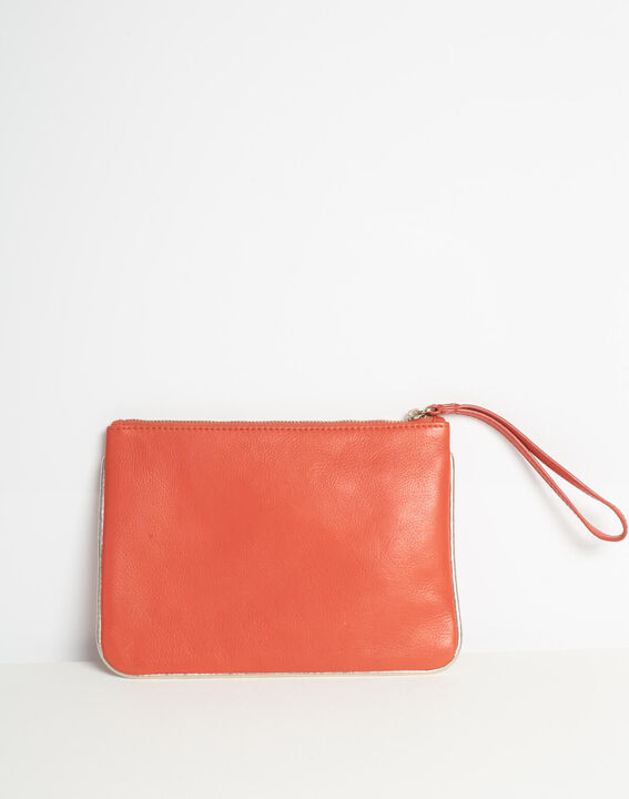 Droopy red clutch with leather straps PhotoZ   1-2-3