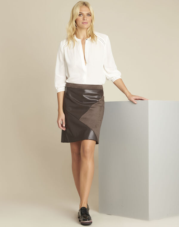 Abby brown trapezoid faux leather skirt (1) - 1-2-3