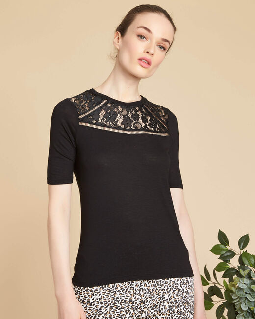 Schwarzes T-Shirt mit Spitze am Ausschnitt Envy (2) - 1-2-3