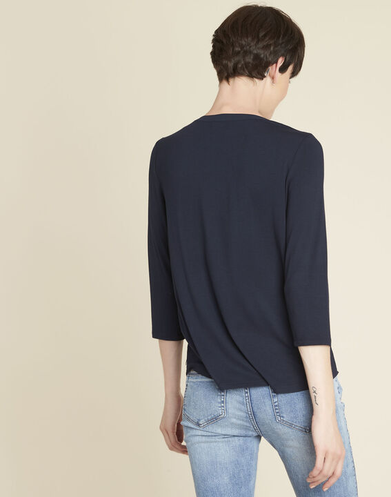 Genna navy, dual-fabric blouse with pockets  PhotoZ | 1-2-3
