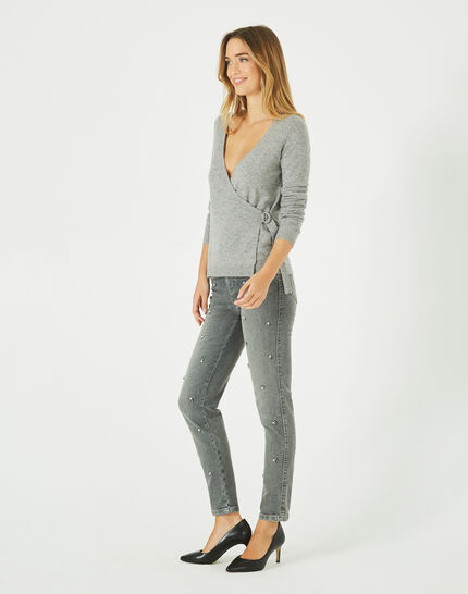 Poésie marl grey wrap-over wool-blend sweater (2) - 1-2-3