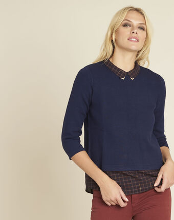 Banjo navy blue check printed sweater navy.