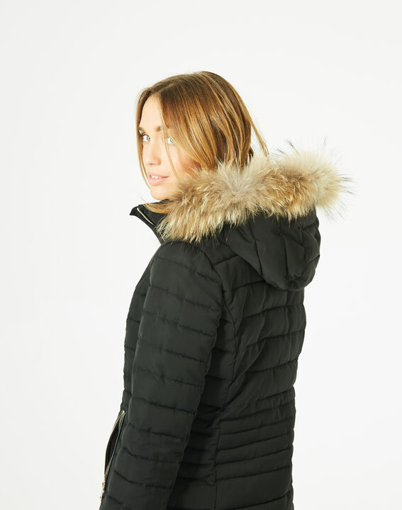 Rosie short black puffer jacket with a hood  (5) - 1-2-3