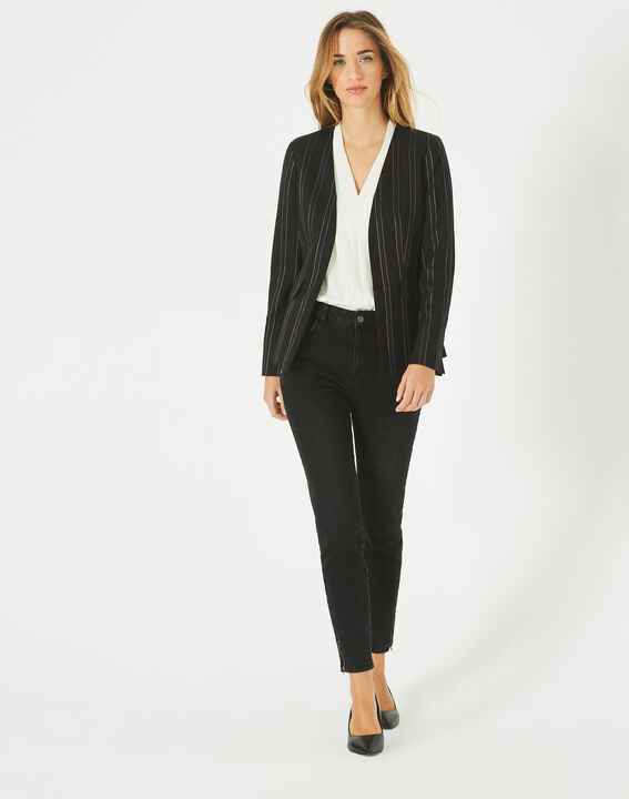 Veste de tailleur rayée noire et bleu marine Maud (1) - 1-2-3