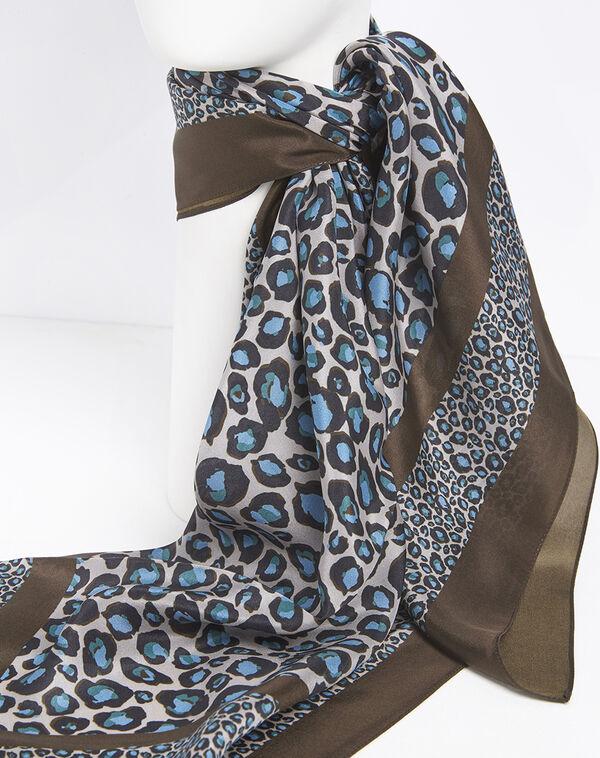 Blaues Seidentuch mit Leopard-Druckmuster Felin (2) - 1-2-3