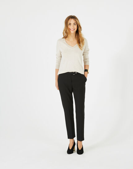 Pantalon jacquard noir Vanille PhotoZ | 1-2-3