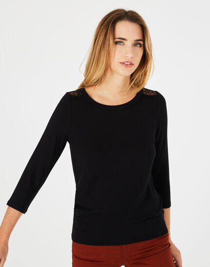 Tee-shirt noir dentelle et guipure Banco (3) - 1-2-3