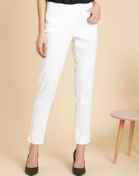 Valero white fitted trousers with pleats (3) - 1-2-3