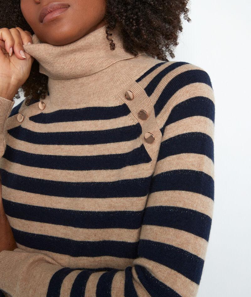 Pullover aus recycelter Wolle und Kaschmir beige und blau Thales  PhotoZ | 1-2-3