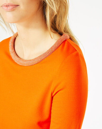 Tee-shirt orange manches 3/4 col rond Billy (4) - 1-2-3