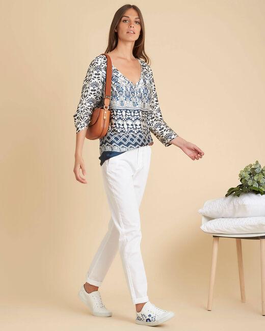 Douna navy blue printed blouse (1) - 1-2-3