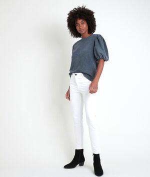 De iconische ecru slim-fit jeans van katoensatijn Sultan