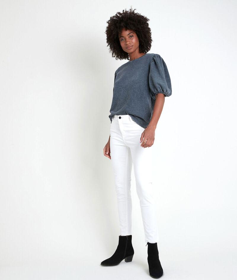 L'iconique slim jean satin de coton organique et recyclé écru Sultan PhotoZ | 1-2-3