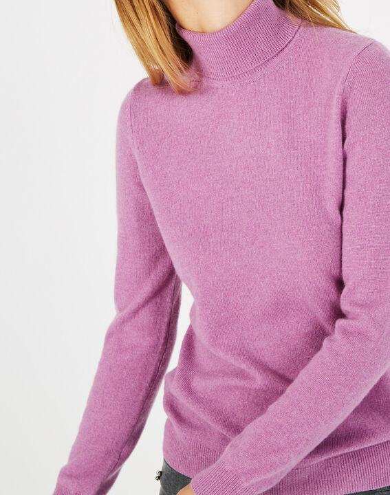 Pull violet col roulé en cachemire Perceneige (3) - 1-2-3