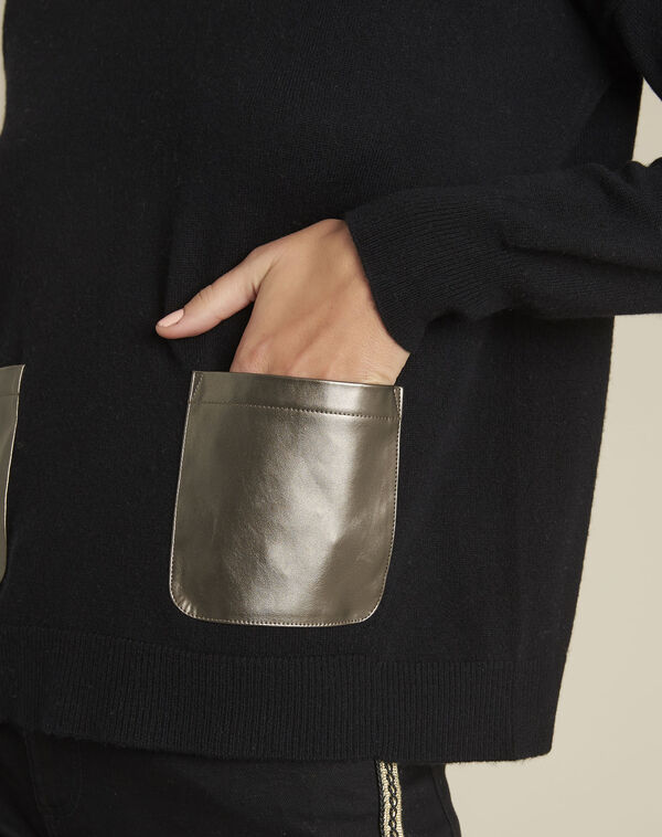 Zwarte trui van kasjmier met neplederen zak Baltic (2) - 37653