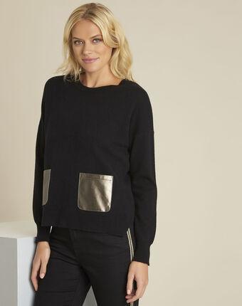 Zwarte trui van kasjmier met neplederen zak baltic noir.