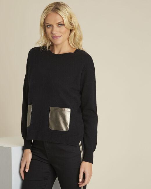 Pull noir laine cachemire poche faux cuir baltic (2) - 1-2-3