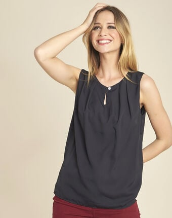 Fanette black top with jewelled neckline black.