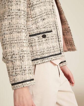 Cesar collarless beige tweed jacket beige.