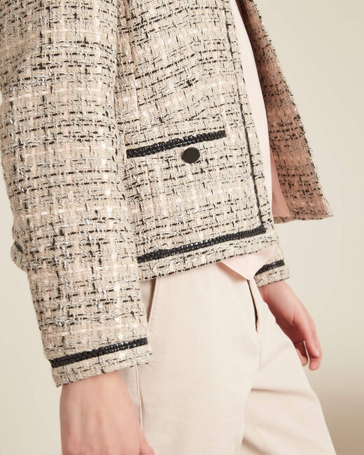 Cesar collarless beige tweed jacket (1) - 1-2-3