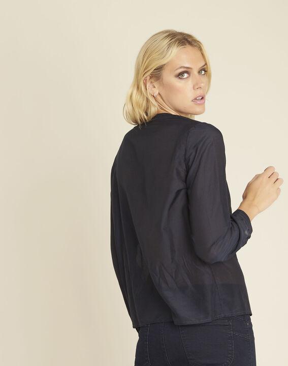 Marineblauwe blouse van katoen en zijde Camille (4) - 37653