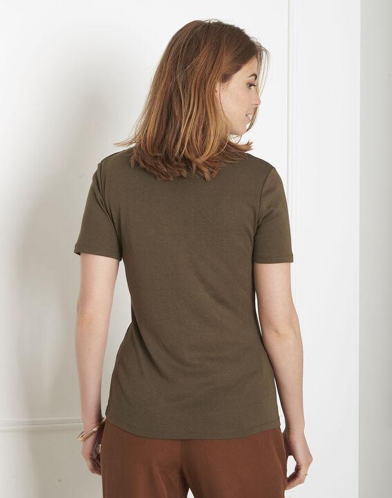 Kakifarbenes T-Shirt mit Ausschnitt mit Ösen Basic (3) - Maison 123