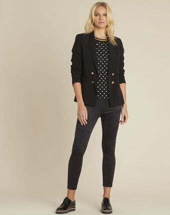 Clover black bi-material polka dot blouse black.