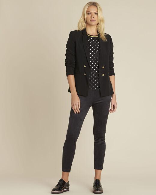 Schwarze Bluse aus Bimaterial mit Pünktchen Clover (1) - 1-2-3