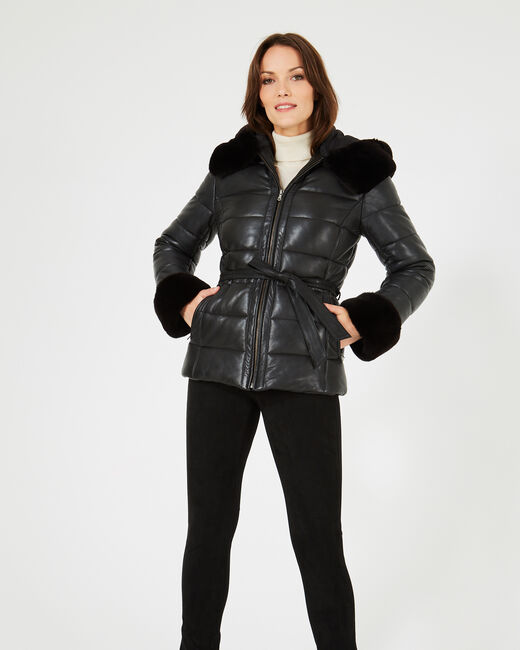 Harlow black leather puffer jacket (2) - 1-2-3