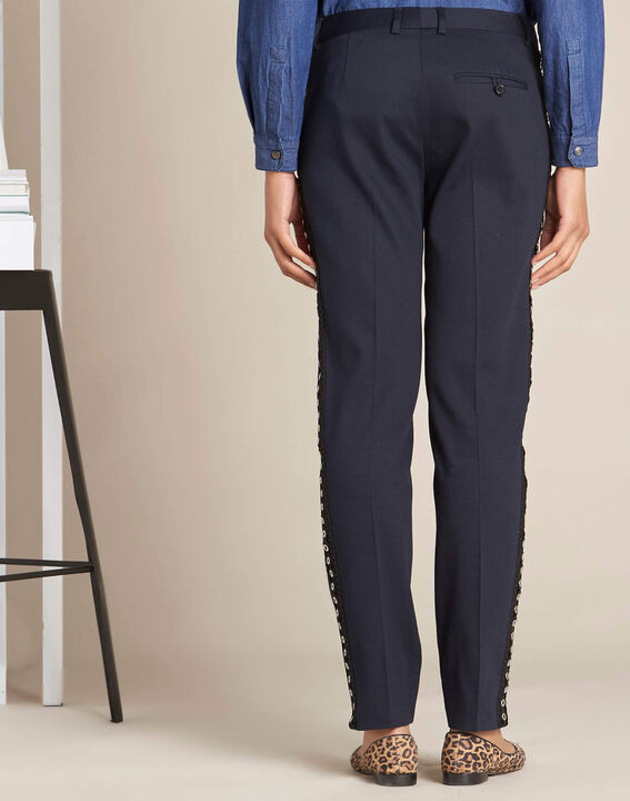 Valero tailored navy trousers with lateral band and eyelets (4) - 1-2-3