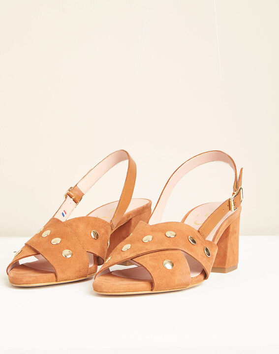 Kitty heeled camel sandals (4) - 1-2-3