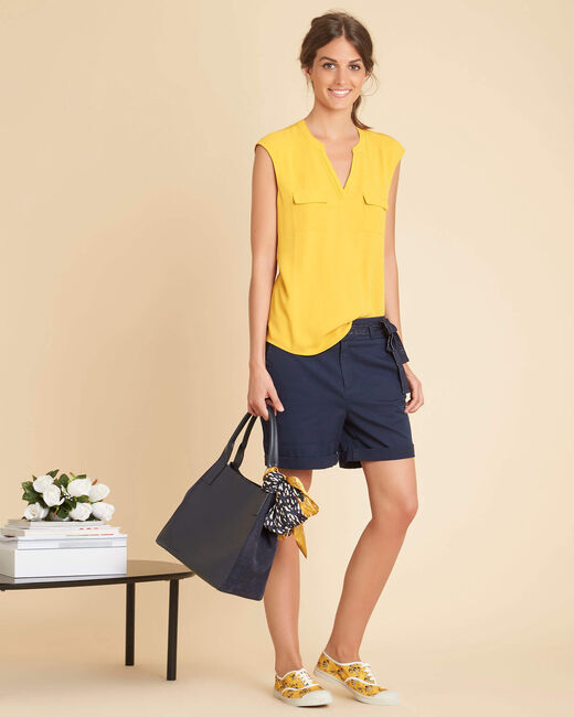 Genna yellow blouse with granddad collar (1) - 1-2-3