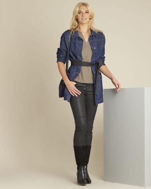 Kakifarbene Bluse mit V-Ausschnitt mit Netzstoff Bianca (1) - 1-2-3