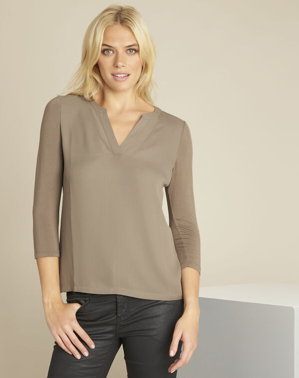Blanca khaki blouse with netting along its V-neck (1) - 1-2-3