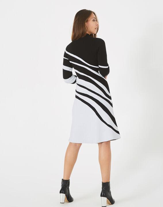 Robe noir et blanc graphique tricot Astre (4) - 1-2-3