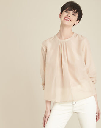 Carlota ecru silk and cotton blouse rose.