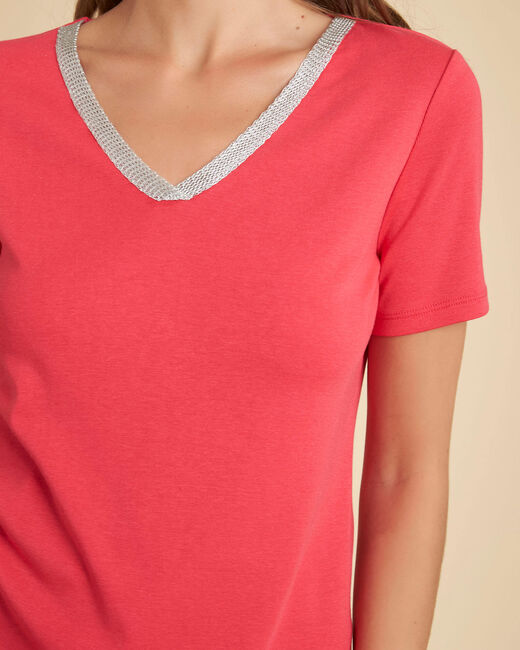 Tee-shirt rouge encolure fantaisie Etincelant (2) - 1-2-3