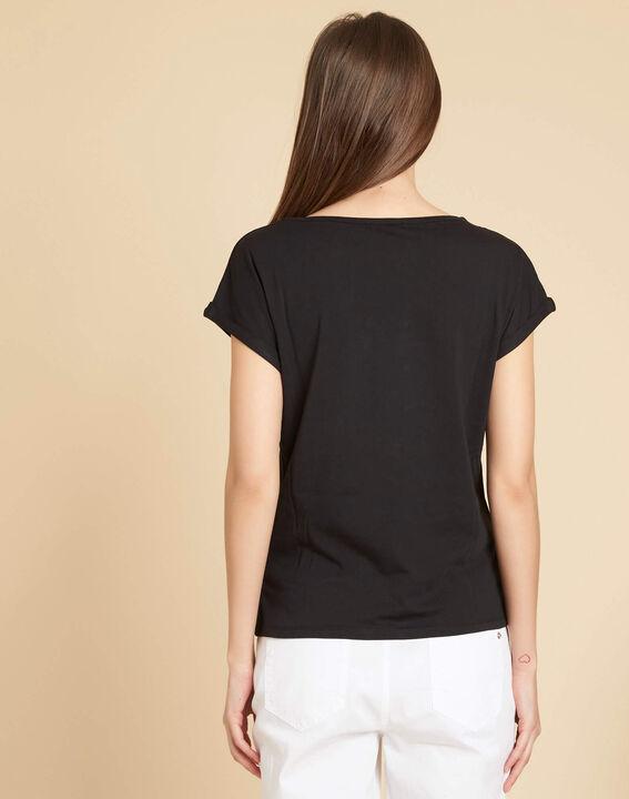 Schwarzes T-Shirt mit Feder-Stickerei Epine (4) - 1-2-3
