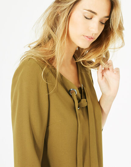 Domino olive blouse with V-neck (1) - 1-2-3