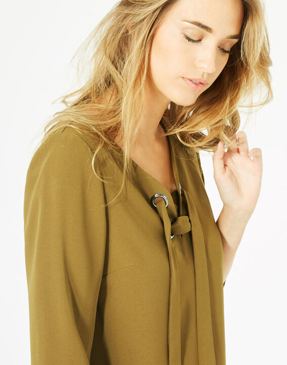 Blouse olive col V Domino PhotoZ | 1-2-3