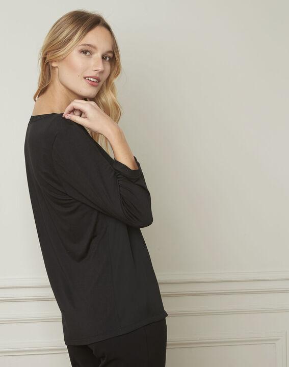 Zwarte blouse met Tunesische kraag van lurex Vassilia (3) - Maison 123