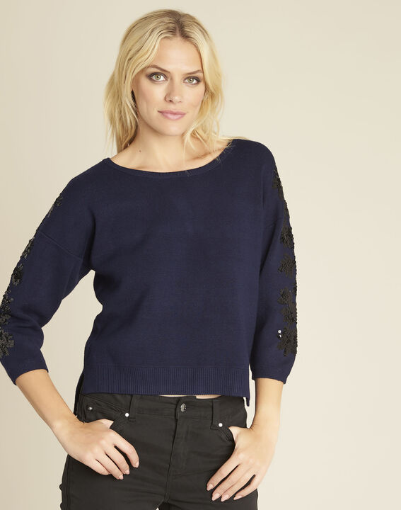 Byzance blue sweater with embroidery on the shoulders (1) - Maison 123