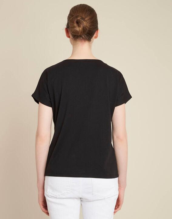 Gaia V-neck black dual-fabric top (4) - 1-2-3