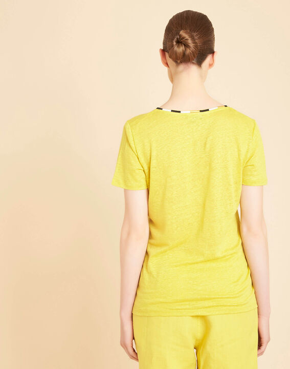Elin yellow anise linen T-shirt with decorative neckline (4) - 1-2-3